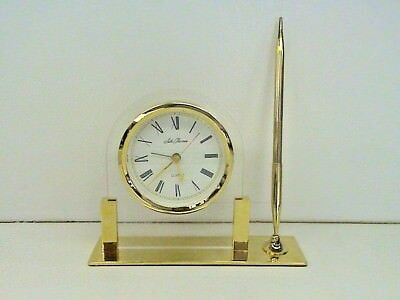 VINTAGE SETH THOMAS QUARTZ DESK CLOCK WITH BRASS? PEN HOLDER German Movement