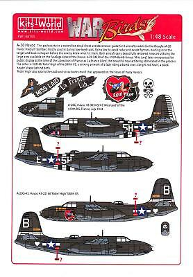 Kits World Decals 1/48 DOUGLAS A-20 HAVOC Miss Laid & Ridin' High