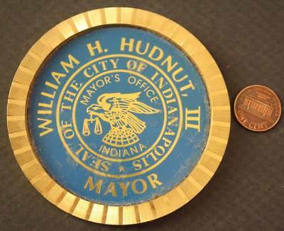 1970s Bill Hudnut Indianapolis Mayor's office official heavy brass gift coaster!