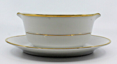 Noritake Heritage Contemporary Fine China Gravy Boat Under Plate Gold 2982 Japan