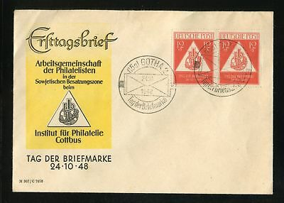 SBZ Nr.228 PAAR BRIEF SST GOTHA TAG DER BRIEFMARKE 24.10.1948 !! (952257)