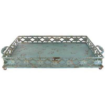 Rustic Antique Vintage Style Metal Serving Tray Shabby Chic Accent Decor