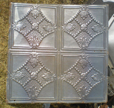 "24""x24"" Antique Victorian Ceiling Tin Tile Chic Beaded Lace Cottage Fleur De Li"