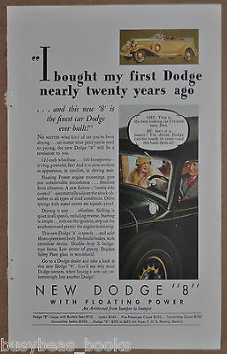 1933 Dodge advertisement, DODGE 8 convertible, color art