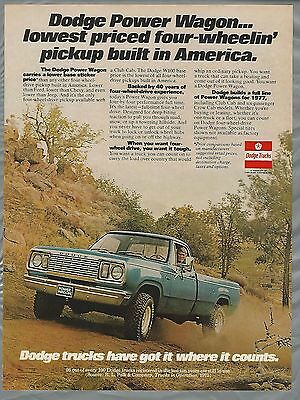 1977 DODGE PICKUP advertisement, Dodge Pickup Truck ad, Chuck Connors
