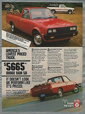 1983 DODGE RAM 50 advertisement, Dodge Ram small pickup ad