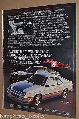 1984 Dodge advertisement, Dodge Charger, with Shelby Charger