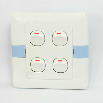 Wall Mounted Plastic Shell Light Control Switch Plate 4 Gang SPST 250VAC 10A