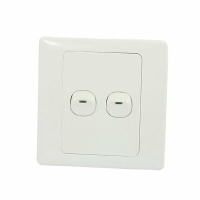 Wall Mounted Plastic Shell Light Switch Plate 2 Gang Button SPST AC 250V 10A