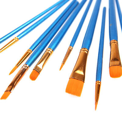 Synthetic Paint Brush Pack of 10 Brushes Set for Model Building w/ Wooden Handle