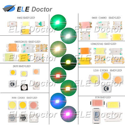 0402 0603 0805 1206 2835 3528 5050 5730 SMD LED Diodes 5 7 10colors 100 1000PCS