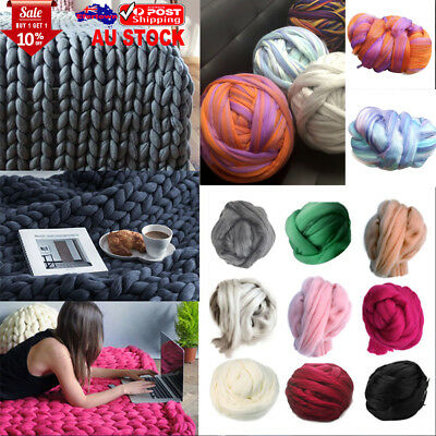 500g Thick Wool Sweater Chunky Wool Yarn DIY Super Bulky Arm Knitting Blanket AU