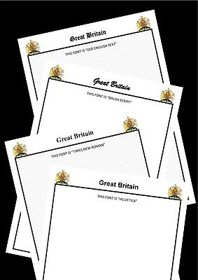 01 - GREAT BRITAIN  BLANK STAMP ALBUM PAGES with EMBLEM - Pack of 25 sheets A4