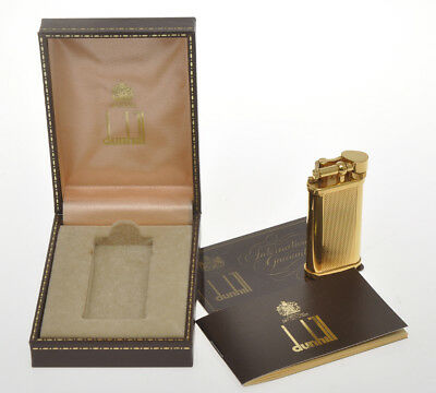 "Dunhill Unique modern ""rise grain"" gold butane lighter new old stock in box"