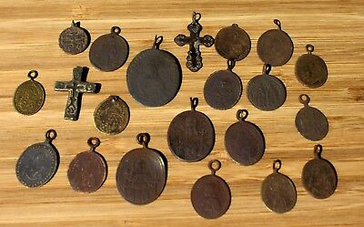 1700's & 1800's Collection Of Bronze Christian Religious 21 Cross & Medals LOT
