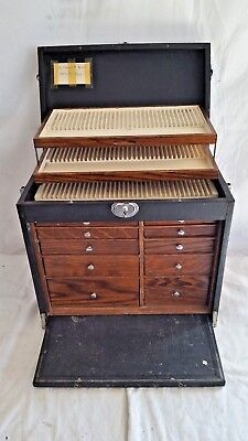 Antique George Pilling portable oak dental tool cabinet/box-10 drawers-3 trays