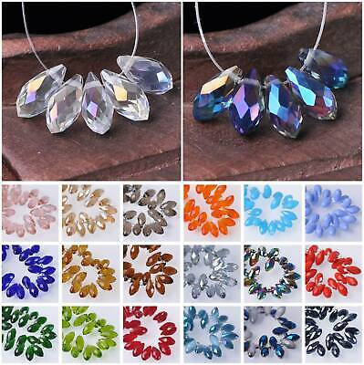 Wholesale 20pcs 6x12mm Faceted Teardrop Glass Crystal Loose Spacer Beads lot