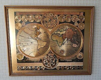 """Vintage reproduction world map by Peter Schenk the Elder - 22""""x18"""" Wood Frame"""