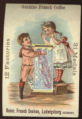 Colorful 1880S Trade Card Advertising Franck Coffee, Ludwigsburg, Germany