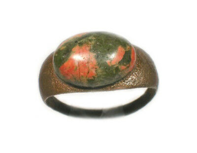 Genuine Elegant Ancient Roman AD200 Bronze Ring Size 8 and Antique Unakite Gem