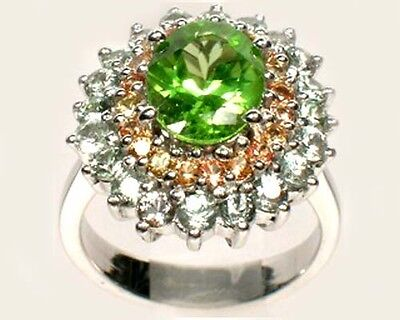 Peridot Ring 3½ct + 40 Sapphires Christian Crusader Egyptian Red Sea Isle Booty