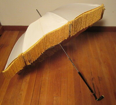 Vintage White Silk Parasol w/Gold Fringe & Unusual B&W Carved Stone Handle
