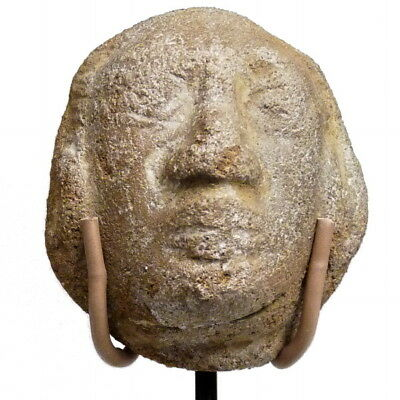 Pre Columbian Pottery Head Male Figure Priest Dignitary god Authentic 600-900 AD