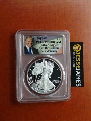 2018 W Proof Silver Eagle Pcgs Pr70 Dcam Donald Trump First Day Of Issue Fdi