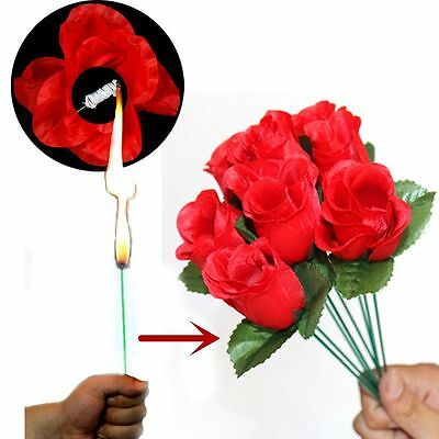 Creative Stage Close Up Magic Trick Torch Rose to Fire Flame Appearing Flower H7