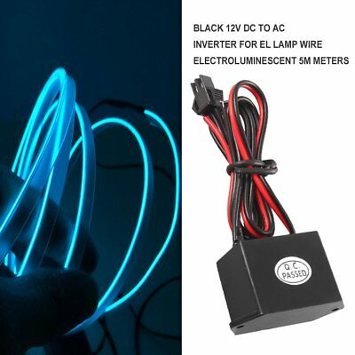 Black 12V DC to AC Inverter for EL Lamp Wire Electroluminescent 5M Meters