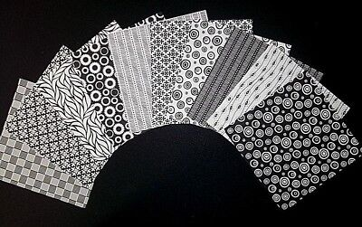"BLACK & WHITE  Scrapbooking/Cardmaking Papers **15cm x 15cm** (6"" X 6"")"