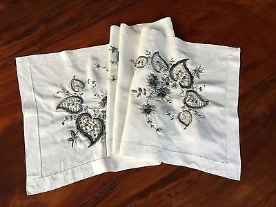 Vtg. Arts & Crafts Era Linen Table Runner 17X70 Padded Hand Embroidered