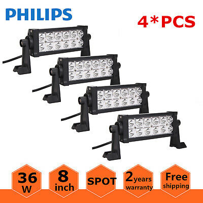 4PCS 8inch 36W Philips LED Work Light Bar SPOT Jeep Truck Off-road Driving Lamp