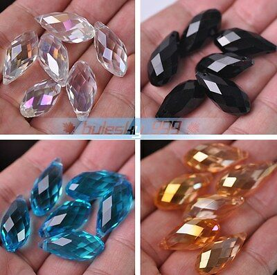 10pcs 12x25mm Big Teardrop Faceted Crystal Glass Loose Spacer Beads DIY Jewelry