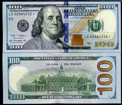 "United States Of America Usa 100 Dollars 2009 /2013 P New ""e"" Replacement Unc"