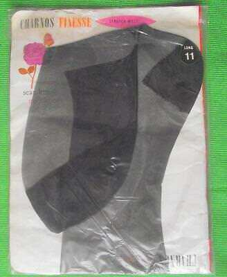 c1960 CHARNOS Sheer Reinforced Heel Toe RHT Vintage Stockings RHT LARGE 11 BLACK