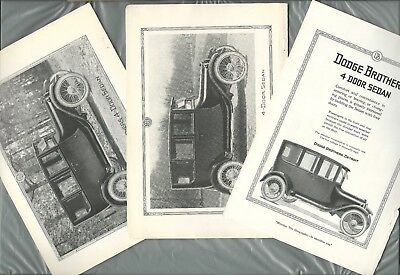 1919 DODGE BROTHERS advertisements x3, Dodge Sedan, vintage auto ad
