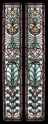 Rare English Art Nouveau Pair Stained Glass Windows Sidelights Spiral Rondels