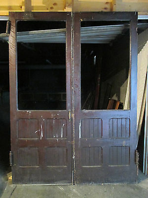 ~ ANTIQUE OAK DOUBLE ENTRANCE FRENCH DOORS 71.25 x 97 ~ ARCHITECTURAL SALVAGE ~