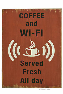 "16"" Large Wood Distressed Vintage Coffee Decor WIFI Cafe Wall Sign Plaque"