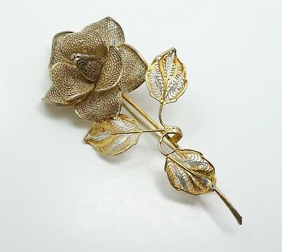 Antique Continental European 800 Silver Gilded Hand Wrought Flower Brooch
