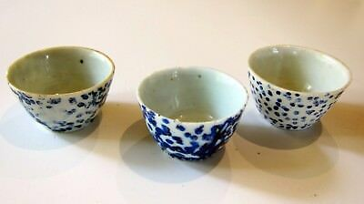 Chinese Ching Dynasty tea cups (3 piece) Unusual-Free ship