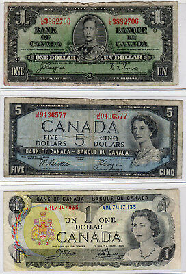 Canada Currency Lot of 3 - $1 & $5 - 1937, 1954, 1973 - Circulated*