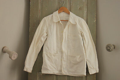 Work Wear French workwear Chore jacket natural Painter's white coat damaged