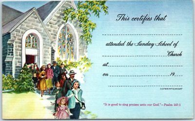 """Vintage Sunday School Postcard """"This Certifies that ____ Attended Church"""" UNUSED"""