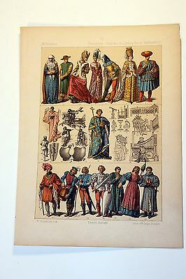 Antique MIDDLE AGES COSTUME Print by F. Hottenroth-1884 FRENCH 15th Century
