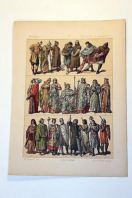 Antique MIDDLE AGES COSTUME Print by F. Hottenroth-1884 FRENCH 13th Century