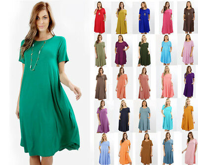 389dc5332ec S-3X Loose Short Sleeve Midi T-Shirt Dress Knee Length Casual Solids Jersey