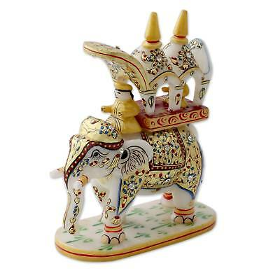 Makrana Marble Sculpture 'Mughal Elephant Hunt' Gold Leaf Painted NOVICA India