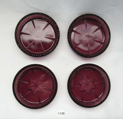 Degenhart Glass  Beaded And Star Coasters  (Amethyst) Set Of Four